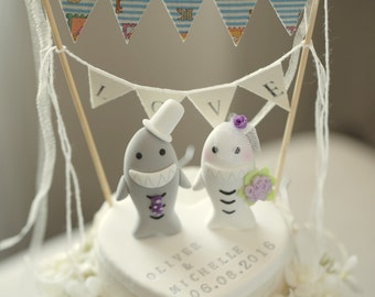 sharks Wedding Cake Topper-love sharks with sweet heart base---k617
