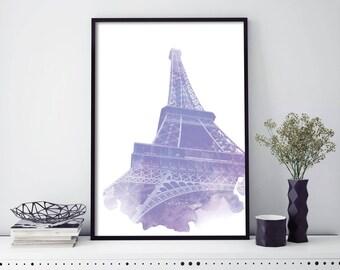 Eiffel Tower, Paris, France Watercolour Print Wall Art | 4x6 5x7 A4 A3 A2