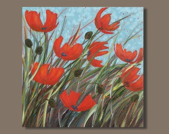 abstract poppies painting, poppy art, flowers, square, small art, poppy painting, red blue green, garden, meadow, floral wall art, diptych