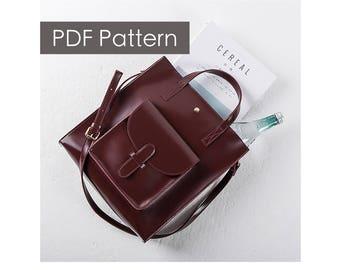 Leather tote pattern/handbag pattern/Pattern template/Leathercraft Pattern/PDF Pattern/everyday tote /DIY pattern