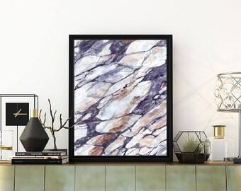 Abstract watercolor painting, marble print,  printable watercolor, printable abstract art, grey and blue wall art, marble wall art,