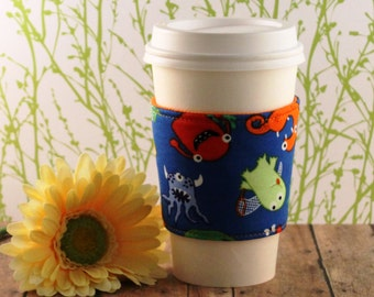 Fabric Coffee Cozy / Monsters on Blue Coffee Cozy / Monster Coffee Cozy / Coffee Cozy / Tea Cozy