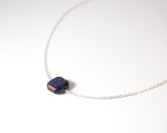 Blue Goldstone Necklace - Sterling Silver Blue Goldstone Necklace - Dainty Gemstone Necklace - Bridesmaid Gift - Glitter Necklace