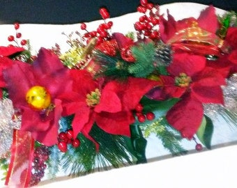 Chistmas Poinsettia's Floral Centerpiece w/ Antique Ornaments 46-Inch Winter Holiday's Table/Mantel Arrangement Designed by Kimberly Drobot