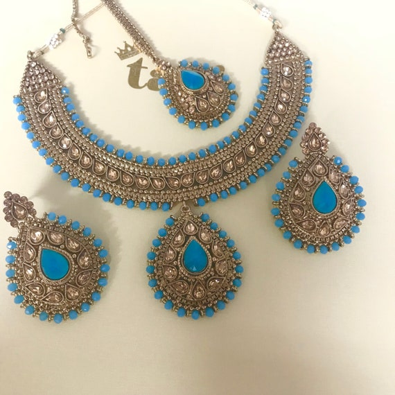 Esha Antique gold and firoza colour bead necklace earrings and tikka set