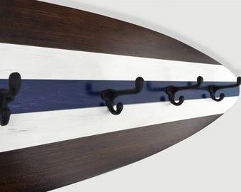4 ft Surfboard Coat Rack Dark Wood, White and Navy Schoolhouse Hooks