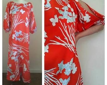 60s 70s Malihini Hawaii Designer Collection satin maxi dress, cut out sleeves, orange floral Hawaiian muumuu, medium-large