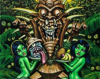 Zombie Tiki Medium archival giclee Art Print