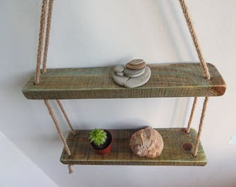 Two Reclaimed Wood Hanging Shelves, Rope Hanging Shelves, Boho Shelves, Rustic Reclaimed Wood Shelves