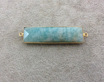 Gold Plated Natural Amazonite Faceted Rectangle/Bar Shaped Copper Bezel Connector - Measures 14mm x 49mm - Sold Individually, Random