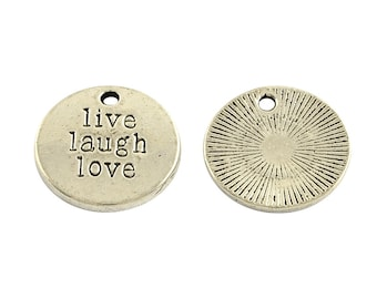 Quote Charms Word Charms LIVE LAUGH LOVE Antiqued Silver Word Charms Message Charms Wholesale Charms Bulk Charms Inspirational Charms