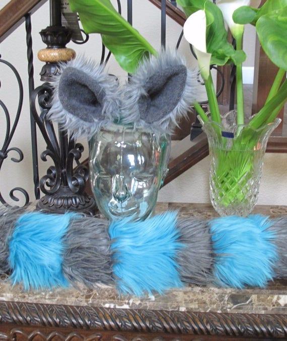 Tim Burton Cheshire cat blue/gray striped luxury shag faux fur ears tails & sets