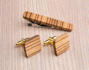 Personalization gift, boyfriend gift for him. Wooden tie Clip Cufflinks Set Wedding Rounded Square Cufflinks. Wood Tie Clip Cufflinks Set