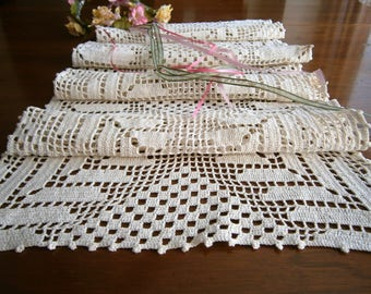 "Handmade Vintage Filet Crochet Table Runner, Crocheted Bureau Scarf, Crochet Table Topper, Dresser Scarf, White Cotton Long Doily, 31""x 14"""