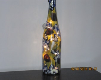 ON SALE Wine bottle cobalt blue with sunflowers hand painted and white lights inside the bottle