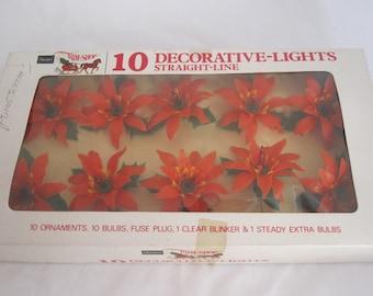 Vintage Poinsettia String Lights