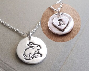 Personalized Small Mother and Twin Rabbit Necklace, New Mom, Twin Jewelry, Two Children, Fine Silver, Sterling Silver Chain, Made To Order
