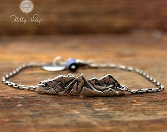 Bracalet mountain.Silver Bracelet mountains on a chain.mountain bracelet.Mountain jewelry.Gift for Hikers.bracelet handmade.