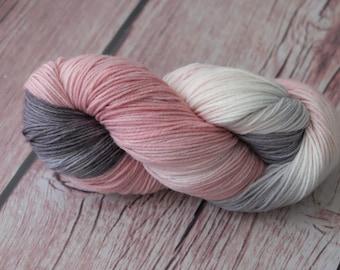 Hand Dyed Superwash Merino Wool  4 ply  smokey purple yarn sock wool Colorway: pink grey 100g (3.5 oz)