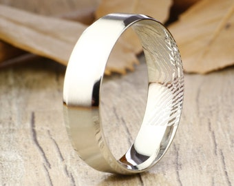 Your Actual Finger Print Rings, Handmade Matt Men RINGS - Matte Silver Titanium Rings 7mm