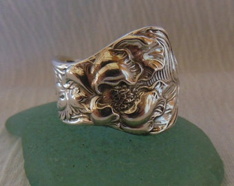 Poppy  Spoon Ring  Antique Sterling Silver  Size 7.75