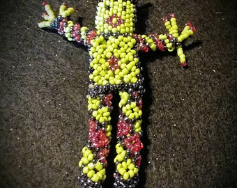 Worry Doll Beaded Green and Purple