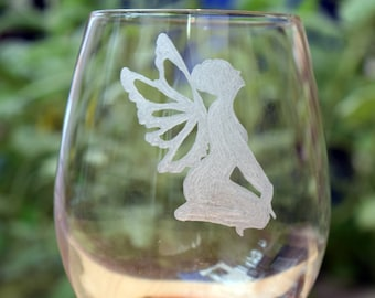 Fairy God Mother Wine glass, God Mother Gift, Stemles Wine Glass, Hand Engraved, Mother's Day, Valentine's Day, Present, Fairy, Fairy Gift