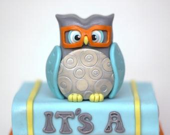 Fondant owl - owl cake topper - owl topper - edible owl - owl birthday - owl baby shower - owl party - owl - owl cupcake - fondant topper