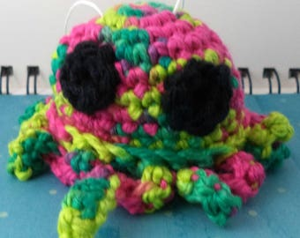 Crocheted Pink and Green Octopus Plush with Black Eyes