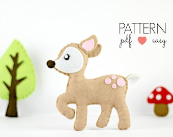 Deer Sewing Pattern Felt Deer Pattern PDF Pattern Crib Mobile Kawaii Softie Toy Favor Ornament Woodland Baby Mobile Baby Shower Tutorial