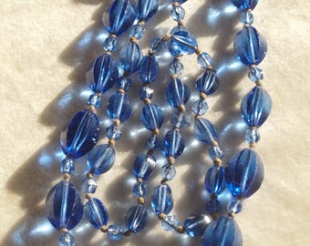 Long Flapper Blue Glass Necklace