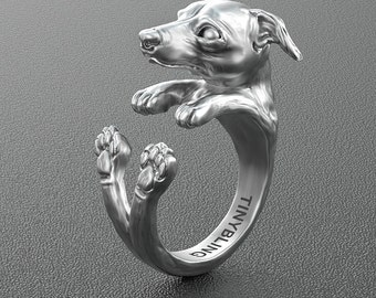 Handmade Greyhound Jewelry. 925 Sterling Silver Cuddle Ring. Great for all the Dog, Puppy, and Pet Lovers