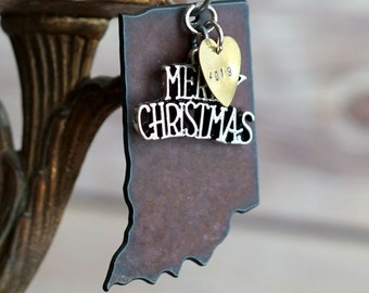 INDIANA Christmas Ornament, INDIANA Ornament, Christmas Gifts 2018, Personalized Gift, INDIANA Ornaments, Indiana Gift, Stocking Stuffer