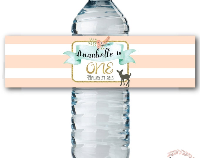Water Bottle Labels // Oh Deer // Fawn // Water Wrap // First Birthday // One // Peach // Mint // Printed or Printable // OXFORD COLLECTION