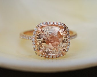 Rose gold engagement ring sapphire ring 6.26ct cushion sapphire 14k rose gold diamond ring