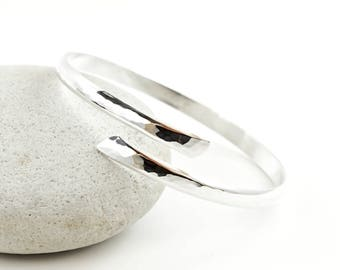 Sterling Silver Bracelet, Silver Bangle, Bypass Bracelet, Hammered, Textured, Silver Cuff, Sterling Silver Bangle, Solid 925 Sterling Silver