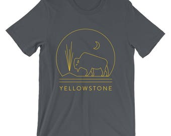 Yellowstone National Park T-shirt featuring Bison and Old Faithful