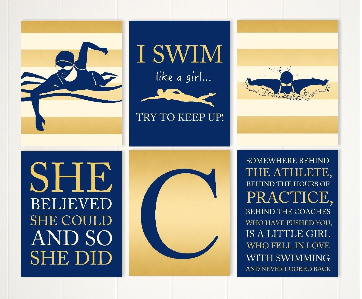 Gift for girl swimmer girl swim wall art teen girl wall
