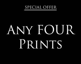 Any 4 prints special offer – Discount deal – Save – Gifts for kids – Gifts for him – Gifts for her – Offer – Wall art –Nursery art- Kids art