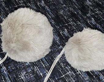 "Lt Gray Faux Fur Rex Rabbit Fur Ball Fur Pom Pom Removable Interchangeable, 4"" or 3"" Diameter"