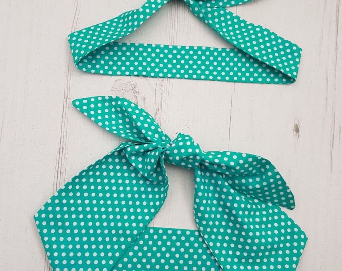 Matching Mum & Baby Rockabilly Head Scarf - Teal Green Polka Dot  - Cotton Shower Bandana Boy Girl Gift Mom Mother Unisex 1950s Pin Up