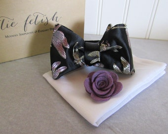 Lavender and silver brocade bow tie pocket square box and pin dapper box set