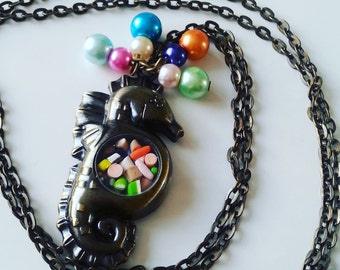 SEAHORSE, necklace, sweets, candy, bronze, long necklace, bubbles, pearl, mix colour, by NewellsJewels on etsy