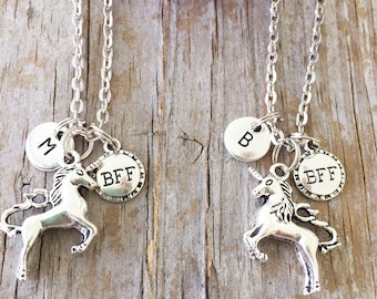 2 Unicorn Best Friends Necklace/ 2 BFF Unicorn Necklaces/ BFF Unicorn Necklaces/ Best Friends Initials/ Unicorn Best Friends