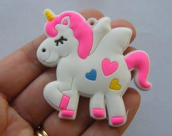 2 Unicorn pendants rubber A702