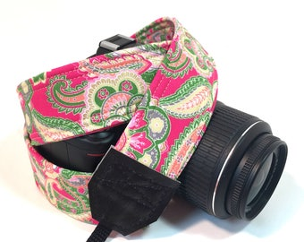 DSLR Camera Strap, Padded Camera strap, Paisley, Nikon Camera Strap, Canon Camera Strap, Graduation Gift, Wedding Gift, Travel