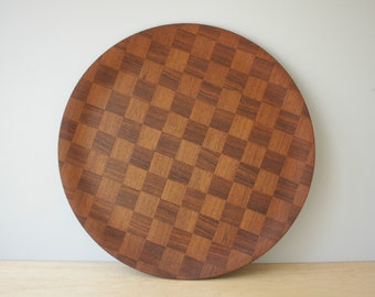 Vintage Teak Serving Tray, Checkerboard Teak Tray, MCM Wood Tray, Large Round Wood Tray, Catering Tray