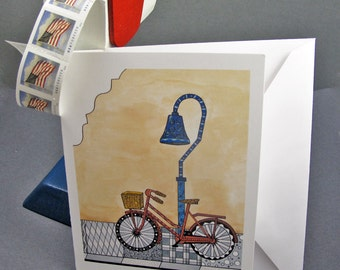 Bicycle at the el Camino Real Stationery Set - Set of 8 Blank Inside Card Set - California Mission and Bicycle Summer notecards