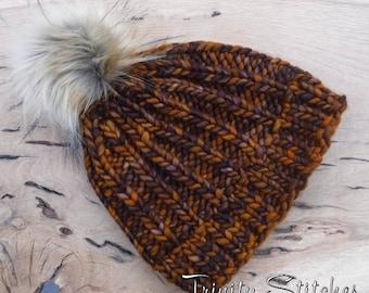 Knit Hat Faux Fur Pom Pom Merino Super Bulky Ready To Ship Free Shipping