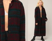 Full Length Coat Wool Blanket Jacket Wool Coat Boho Maxi Tribal Southwestern Vintage Long Bohemian Southwest Retro Red Large